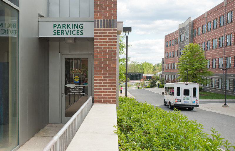 Parking Services building at Fairfax Campus. Photo by Alexis Glenn/Creative Services/George Mason University