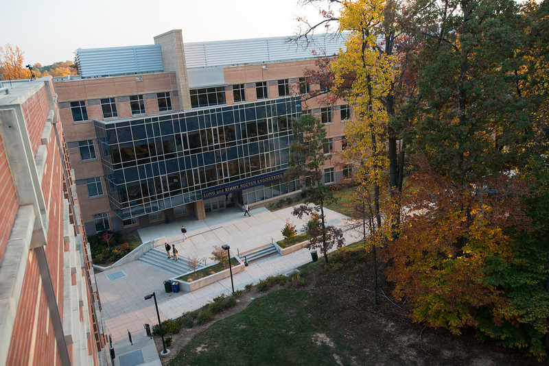 Nguyen Engineering building in the Fall. Photo by Evan Cantwell/Creative Services/George Mason University