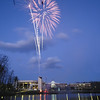 Homecoming Fireworks over Mason Pond. Photo by Evan Cantwell/Creative Services/George Mason University