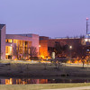 Center for Fine Arts and the Johnson Center at night