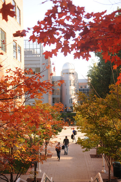 Research Hall observatory tower in the Fall