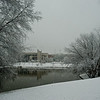 Mason Pond and the Center for the Arts in the snow