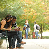 Students outdoors on the Fairfax campus