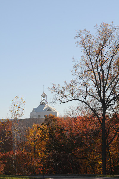 The Johnson Center tower during Fall on the Fairfax Campus.
