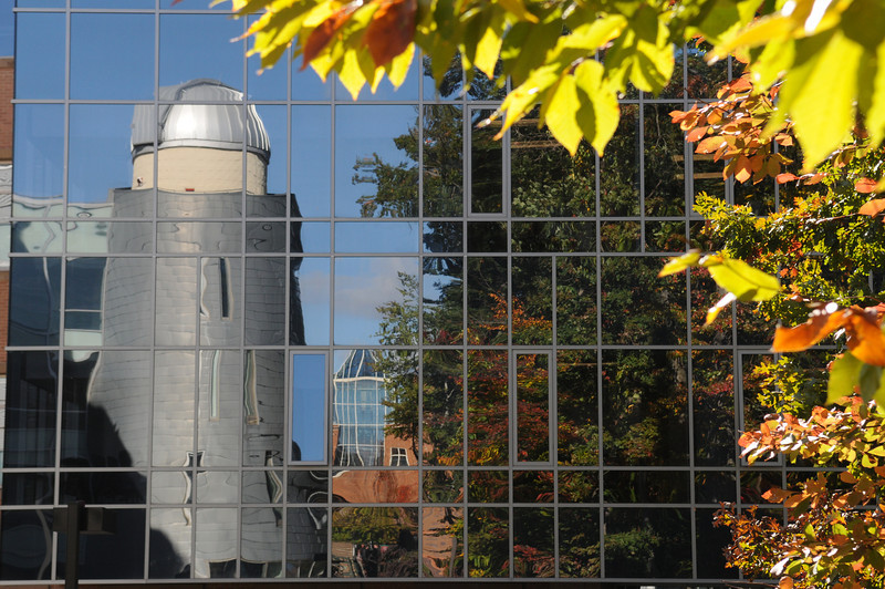 Observatory tower reflection. Photo by Evan Cantwell/Creative Services