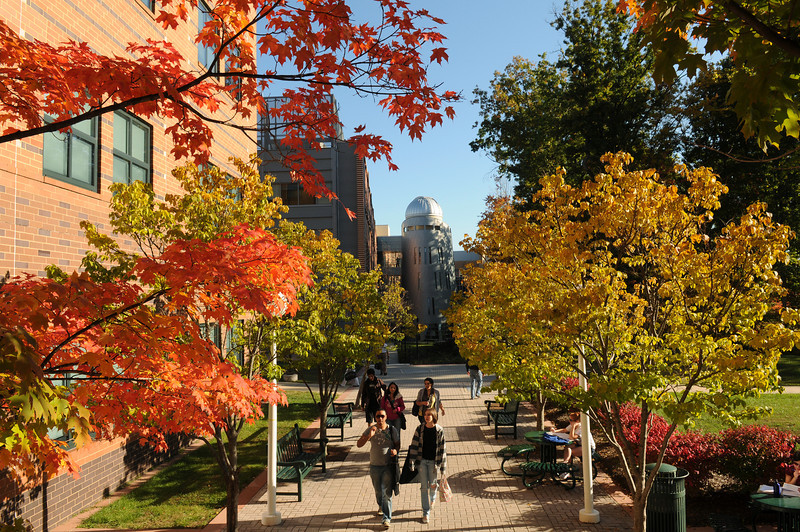 Students walking to class on the Fairfax campus in the Fall.