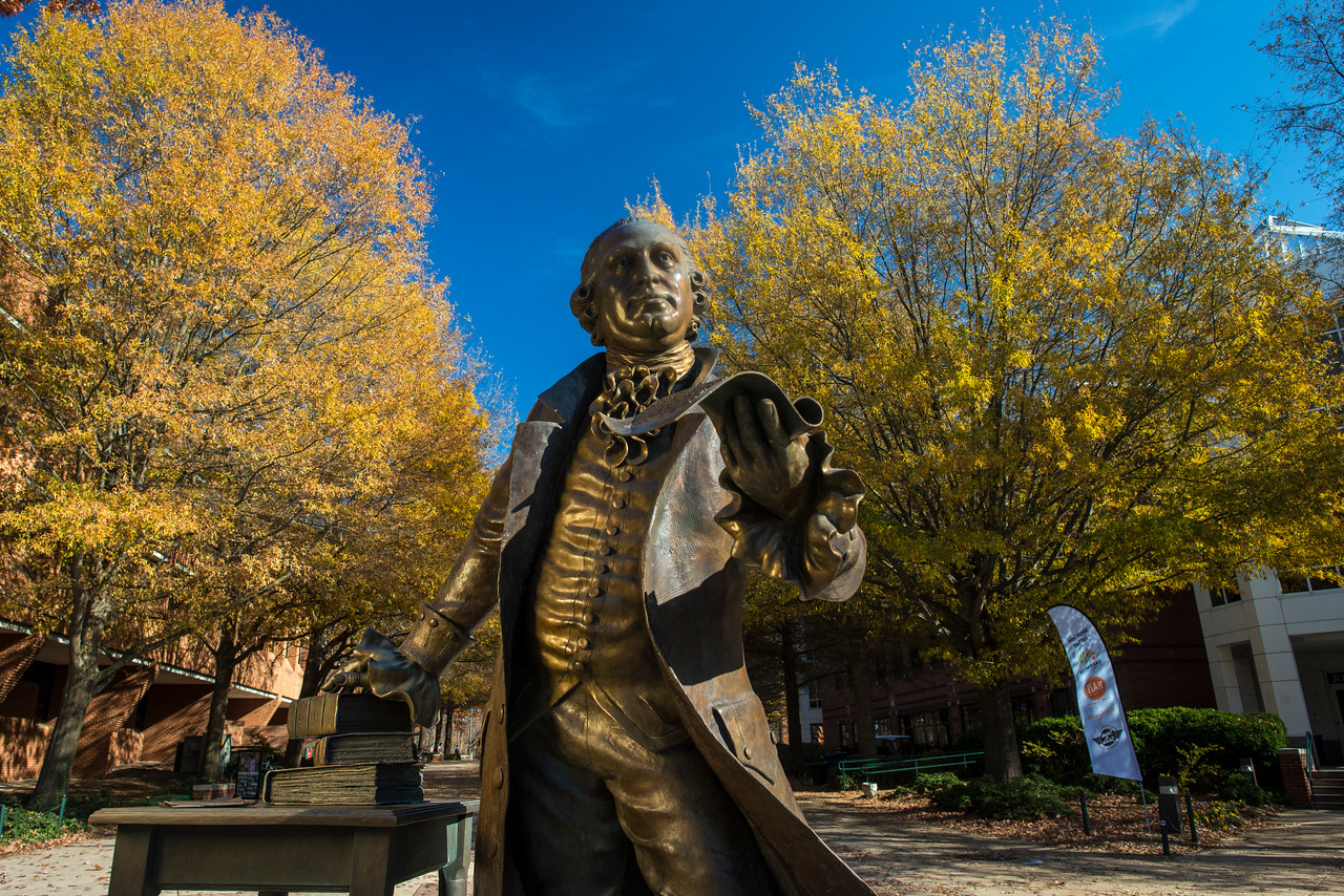 George Mason Statue. Photo by Evan Cantwell/Creative Services/George Mason University