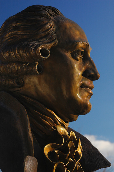 George Mason statue on the Fairfax campus. Photo by Evan Cantwell/Creative Services/George Mason University