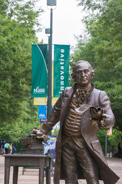 The George Mason statue.  Photo by Craig Bisacre/Creative Services/George Mason University