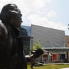 110628009e - Mason Statue in front of de Laski Performing Arts Building. Photo by Creative Services/George Mason University