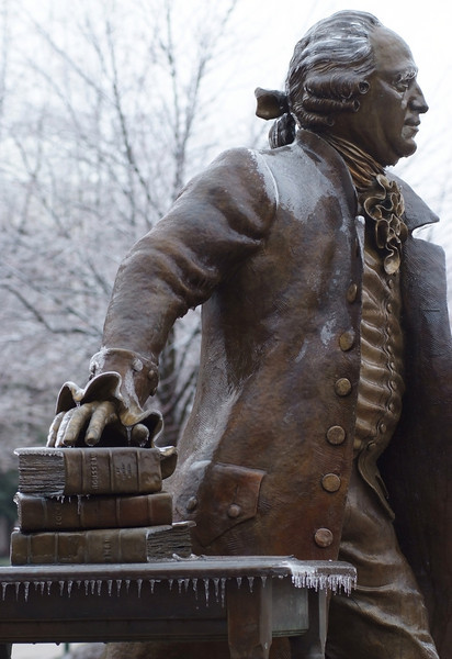 080213083e - Mason Statue in the snow on the Fairfax Campus. Photo by Creative Services/George Mason University