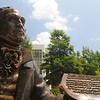 110628011e Mason Statue in front of the Johnson Center at the Fairfax Campus.  Photo by Creative Services/George Mason University