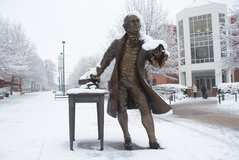 080118111e -  Mason Statue in the snow on the Fairfax Campus.  Photo by Creative Services/George Mason University