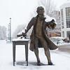 080118111e -  Mason Statue in the snow on the Fairfax Campus.  Photo by Creative Services/George Mason University