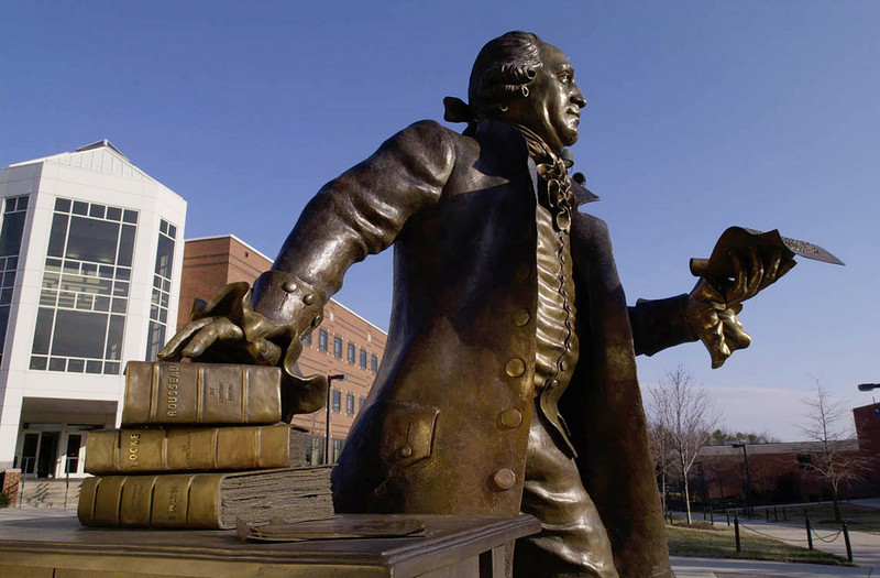 01030903e - The Mason Statue on the Fairfax Campus. Photo by Evan Cantwell/Creative Services/George Mason University