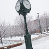 Clock during winter on the North Plaza of the Fairfax Campus. Photo by Evan Cantwell/Creative Services/George Mason University 080118150