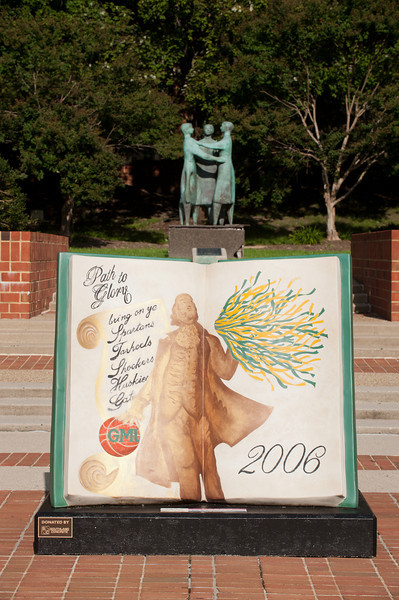 Path to Glory, which is now located at the Patriot Center, by Bill and Barbara Gordon (front) and Communitas by artist Azriel Awret are seen outside. Photo by Alexis Glenn/Creative Services/George Mason University