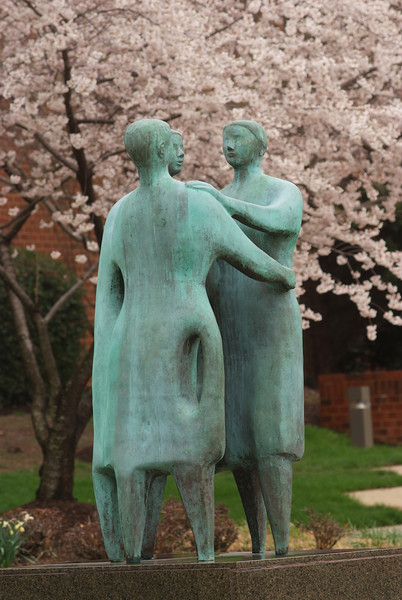 Communitas (bronze, 1992), by artist Azriel Awret on the Fairfax Campus. Photo by Evan Cantwell/Creative Services/George Mason University