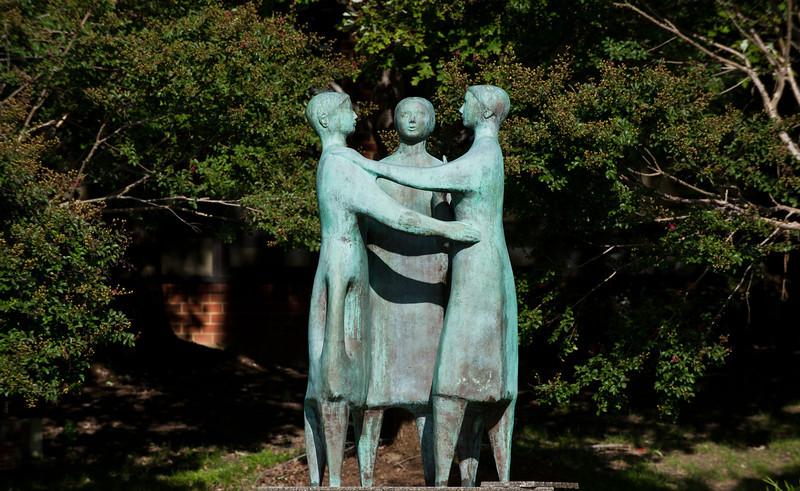 Communitas (bronze, 1992),  by artist Azriel Awret is seen outside. Photo by Alexis Glenn/Creative Services/George Mason University