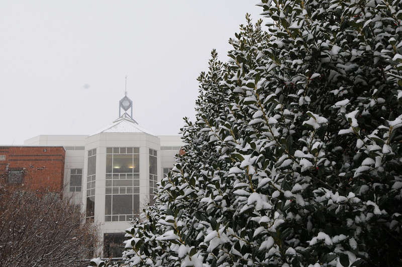 The Johnson Center covered in snow.  Photo by Creative Services/George Mason University