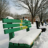 050301047 - Fairfax, VA, Student organization benches in front of SUB I covered in snow. Photo by Creative Services/George Mason University