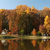 Cross Cottage along Mason Pond during fall on the Fairfax Campus. Photo by Evan Cantwell/Creative Services/George Mason University 041103129