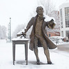 080118111e - Fairfax, VA, The Mason Statue in the snow. Photo by Evan Cantwell/Creative Services/George Mason University