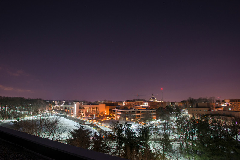 Fairfax Campus at night. Photo by Evan Cantwell/Creative Services/George Mason University