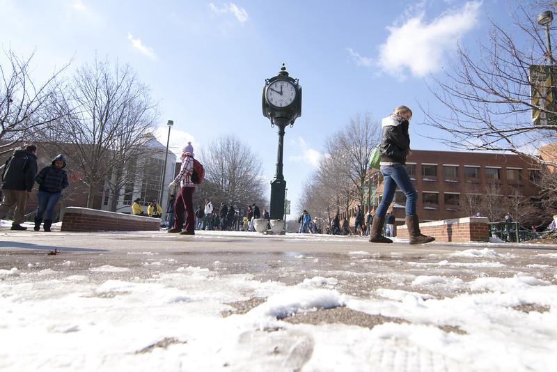 First snow on George Mason Fairfax Campus