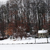 Cross Cottage in the snow at the Fairfax Campus.  Photo by Creative Services/George Mason University