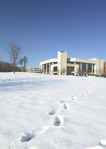 e02120933 - Fairfax, VA, Center for the Arts with footprints in the snow. Photo by Evan Cantwell/Creative Services/George Mason University