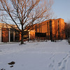 Fenwick Library in winter on the Fairfax Campus. Photo by Evan Cantwell/Creative Services/George Mason University. e090317027