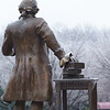 080213078 - Fairfax, VA, The Mason Statue covered in ice. Photo by Evan Cantwell/Creative Services/George Mason University