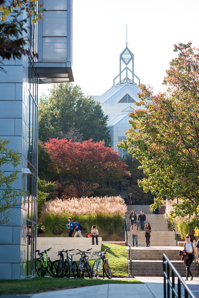 Exploratory Hall and the JC spier in the Fall