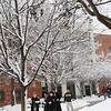 110129130e - Fairfax, VA, Students walking in front of the Johnson Center. Photo by Evan Cantwell/Creative Services/George Mason University