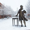 The Mason statue covered in snow. Photo by Creative Services/George Mason University