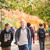 Students walking on the Fairfax Campus in the Fall.  Photo by:  Ron Aira/Creative Services/George Mason University