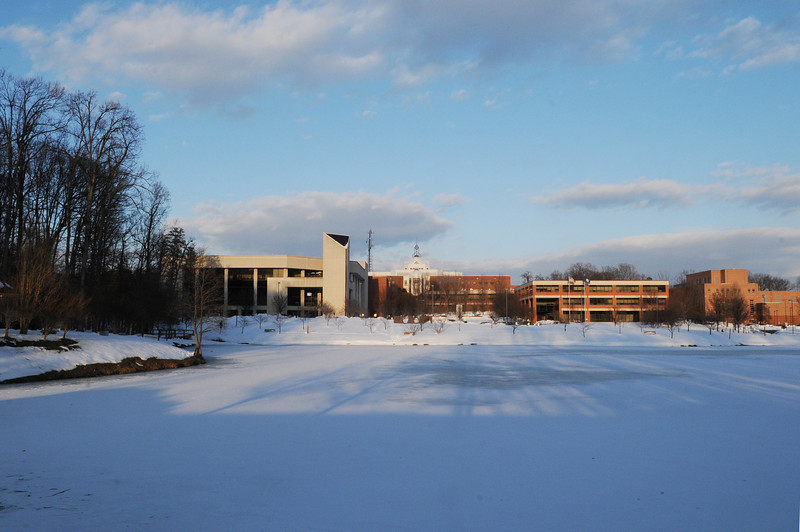 Fairfax Campus snow. Photo by Creative Services/George Mason University