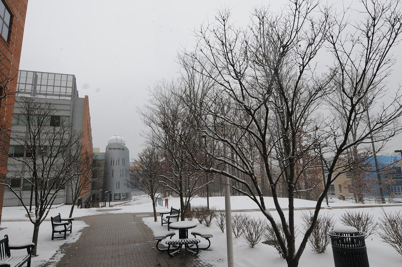 Research Hall covered in snow. Photo by Creative Services/George Mason University