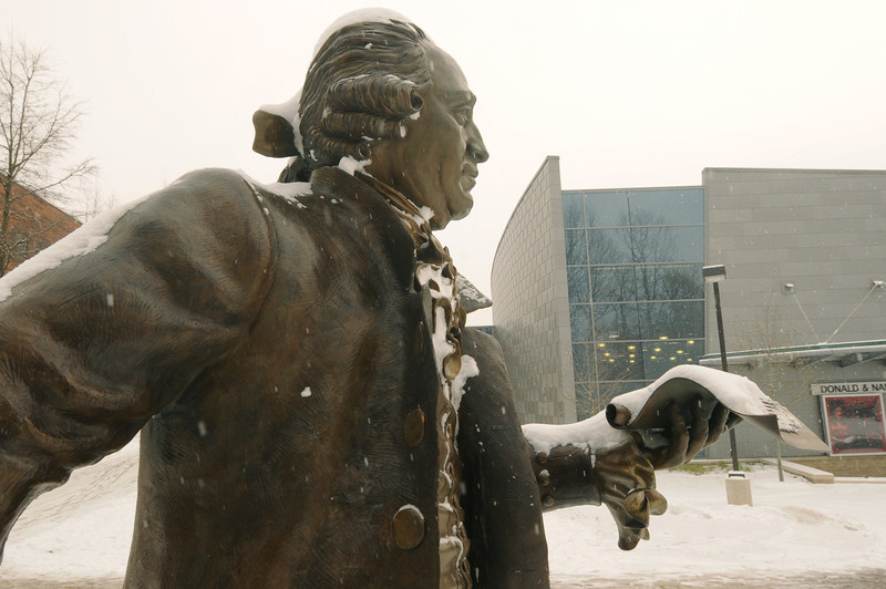Mason in the snow. Photo by Creative Services/George Mason University
