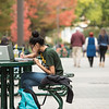 Students studying on the Fairfax Campus in the Fall.  Photo by:  Ron Aira/Creative Services/George Mason University