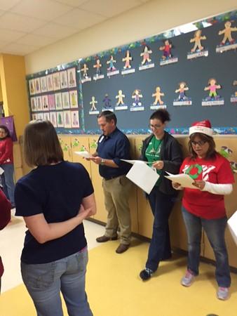 Staff Caroling to Students and Staff Dec 2015