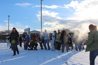Then the snowball fight commenced!