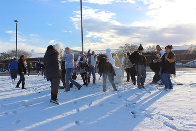 Staff snowball fight at Memorial Elementary