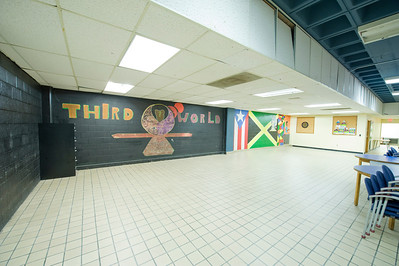 The murals in the 3rd World Room in the basement of the Ely Campus Center