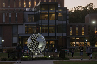 The Westfield State University campus green and globe sculpture