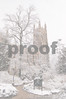 Duke Chapel SW falling snow