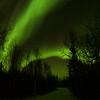 Northern Lights over path at Pontoon Lake; Yellowknife