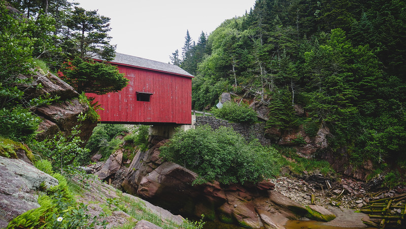 The Shiphaven hiking trail starts at the covered bridge