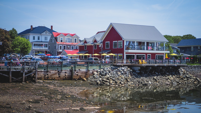 Seafood restaurants line the waterfront in St. Andrews, New Brunswick